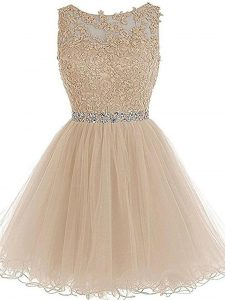 Champagne Tulle Zipper Scoop Sleeveless Mini Length Homecoming Gowns Beading and Lace and Appliques