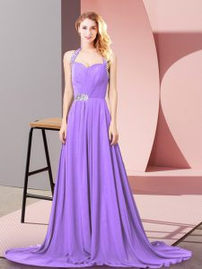 Sleeveless Beading and Ruching Zipper Prom Dresses with Lavender Brush Train