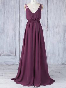 Burgundy Backless V-neck Appliques Quinceanera Court Dresses Chiffon Sleeveless