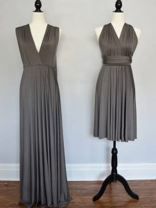 Grey Empire V-neck Sleeveless Chiffon Floor Length Lace Up Ruching Dama Dress