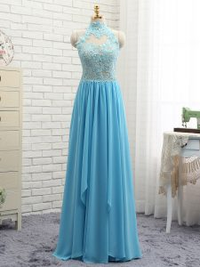 Baby Blue Empire Halter Top Sleeveless Chiffon Floor Length Backless Lace