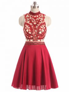 Stunning Red A-line Halter Top Sleeveless Chiffon Mini Length Backless Beading Prom Dresses