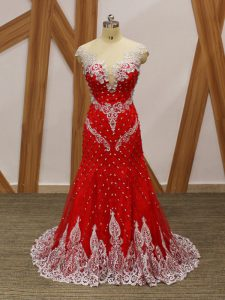 Amazing Red Cap Sleeves Brush Train Beading and Lace and Appliques Evening Gowns