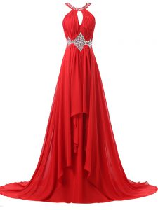 Amazing Red Empire Chiffon Halter Top Sleeveless Beading and Ruching Lace Up Formal Evening Gowns Brush Train