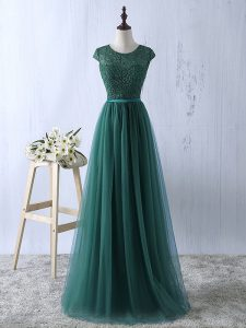 Fancy Dark Green Scoop Zipper Lace Pageant Dress for Womens Short Sleeves