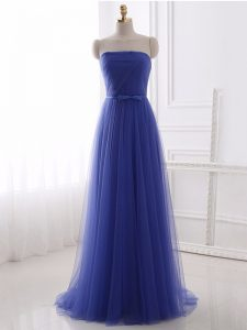 Blue Strapless Neckline Beading and Belt Dress for Prom Sleeveless Zipper