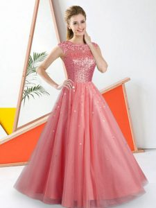 Artistic Watermelon Red Tulle Backless Dama Dress Sleeveless Floor Length Beading and Lace