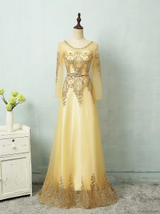 Charming Long Sleeves Tulle Floor Length Zipper Evening Gowns in Yellow with Beading and Appliques and Belt
