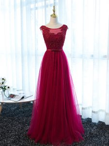 Fuchsia Empire Beading and Lace and Appliques and Belt Homecoming Dress Lace Up Tulle Sleeveless Floor Length