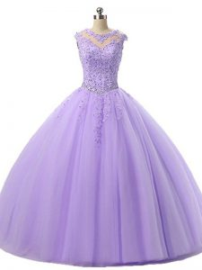 Sleeveless Lace Up Floor Length Beading and Lace Quinceanera Gown