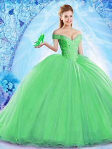 Green Sleeveless Beading Lace Up Sweet 16 Dresses