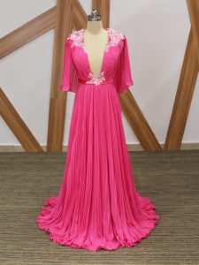 Chiffon Half Sleeves Celebrity Style Dress Sweep Train and Lace and Appliques and Pleated