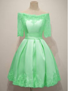 Off The Shoulder Half Sleeves Quinceanera Court of Honor Dress Knee Length Lace Apple Green Taffeta