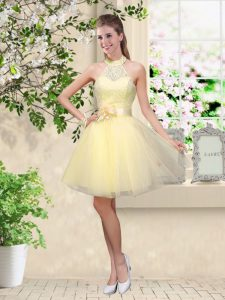 Smart Lace and Belt Wedding Party Dress Light Yellow Lace Up Sleeveless Knee Length