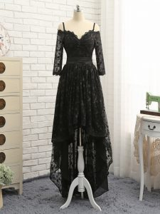 Clearance High Low Black Cocktail Dress Lace Half Sleeves Lace