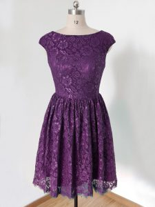 Scoop Sleeveless Dama Dress Knee Length Lace Dark Purple Lace