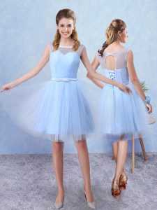 Adorable Blue A-line Tulle Scoop Sleeveless Ruching and Belt Knee Length Lace Up Quinceanera Court Dresses