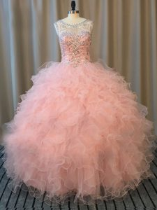 Scoop Sleeveless Sweet 16 Dress Floor Length Beading and Ruffles Pink Tulle