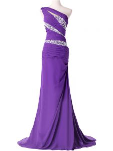 Purple Going Out Dresses For with Beading and Ruching One Shoulder Sleeveless Brush Train Lace Up