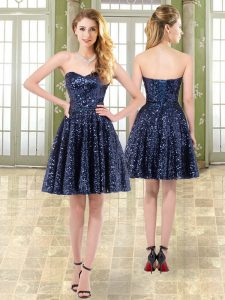 Stunning Navy Blue Sleeveless Beading Mini Length Homecoming Dresses