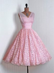 Lace V-neck Sleeveless Lace Up Lace Quinceanera Court Dresses in Baby Pink
