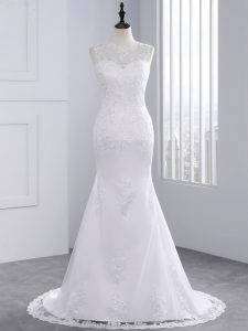 Inexpensive White Wedding Dress Tulle Brush Train Sleeveless Beading and Appliques