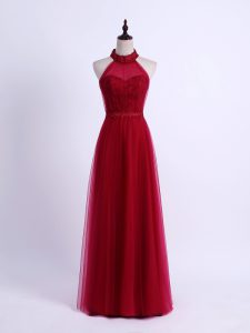 Sleeveless Lace Up Floor Length Lace and Appliques Dama Dress