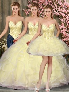 Light Yellow Lace Up Sweetheart Beading and Ruffles 15th Birthday Dress Tulle Sleeveless