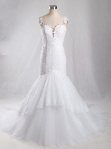White Mermaid Straps Sleeveless Tulle Brush Train Clasp Handle Lace Wedding Dresses