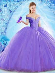 Off The Shoulder Sleeveless Brush Train Lace Up Quinceanera Dresses Lavender Organza