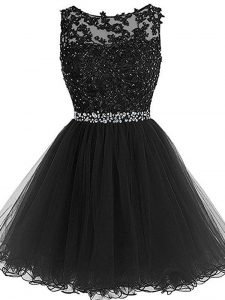 Black Scoop Neckline Beading and Lace and Appliques Sleeveless Zipper