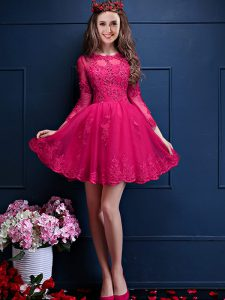 Eye-catching Scalloped 3 4 Length Sleeve Lace Up Wedding Party Dress Hot Pink Chiffon