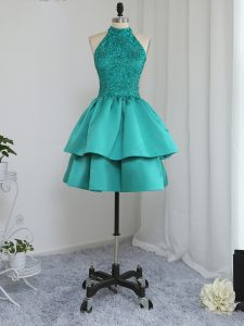 Turquoise Sleeveless Lace and Appliques Mini Length Cocktail Dresses