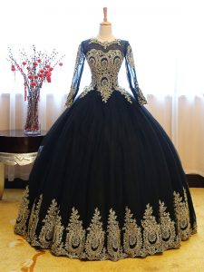 Fancy Floor Length Navy Blue Quince Ball Gowns Scoop Long Sleeves Lace Up