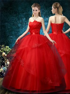 Graceful Off The Shoulder Sleeveless Lace Up Wedding Gown Red Organza