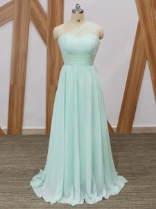 New Arrival Apple Green Sleeveless Chiffon Sweep Train Side Zipper Damas Dress for Prom and Party and Wedding Party