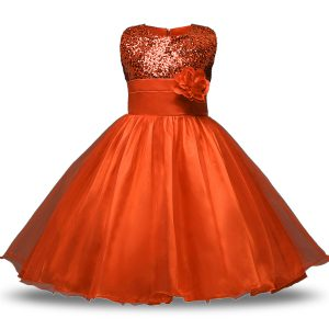 Inexpensive Orange Red Flower Girl Dresses Military Ball and Sweet 16 and Quinceanera with Bowknot and Belt and Hand Made Flower Scoop Sleeveless Zipper