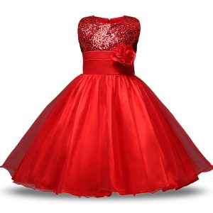 Glittering Red Sleeveless Knee Length Bowknot and Belt and Hand Made Flower Zipper Toddler Flower Girl Dress