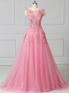 Pink Empire Scoop Sleeveless Tulle Brush Train Lace Up Appliques Custom Made Pageant Dress