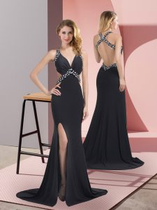 Inexpensive Sleeveless Brush Train Criss Cross Beading Prom Dresses