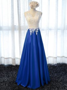 Deluxe Royal Blue Sleeveless Floor Length Lace and Appliques Zipper Red Carpet Prom Dress