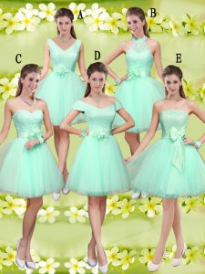 Romantic Knee Length Apple Green Court Dresses for Sweet 16 V-neck Sleeveless Lace Up
