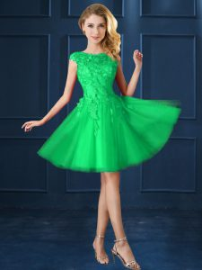 Knee Length A-line Cap Sleeves Green Damas Dress Lace Up