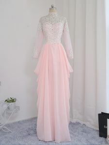 Baby Pink Empire High-neck Sleeveless Chiffon and Silk Like Satin Floor Length Zipper Beading Hoco Dress