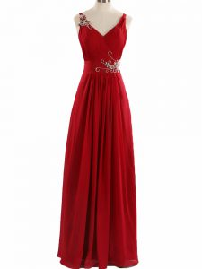 New Arrival Floor Length Red Juniors Evening Dress V-neck Sleeveless Zipper