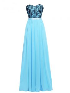 Customized Floor Length Aqua Blue Prom Dresses Sweetheart Sleeveless Zipper