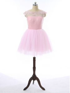 Captivating Baby Pink A-line Tulle Scoop Sleeveless Lace and Appliques Mini Length Zipper Prom Party Dress