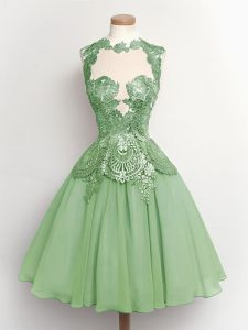 Lovely Knee Length Lace Up Bridesmaids Dress Green for Prom and Party and Wedding Party with Lace