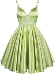 Spaghetti Straps Sleeveless Bridesmaid Dress Knee Length Lace Yellow Green Elastic Woven Satin
