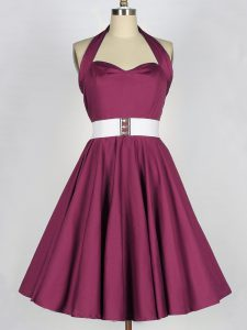 Belt Vestidos de Damas Burgundy Lace Up Sleeveless Knee Length